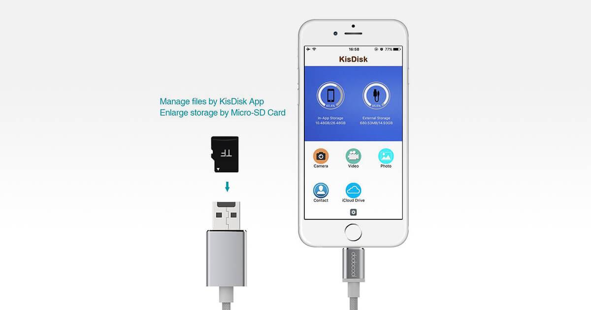 microSD nel cavo Ligthing per espandere la memoria di iPhone